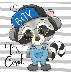 Cool cartoon cute raccoon with sun glasses vector