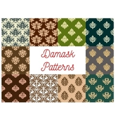 Damask flowery ornate seamless patterns set vector image
