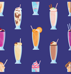 different tasty milkshakes decorated with fruits vector image