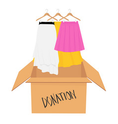 Donation concept donate box full of clothes vector