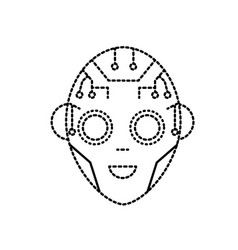 Dotted shape head in interface and cyberspace vector
