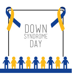 Down syndrome day card invitation people together vector