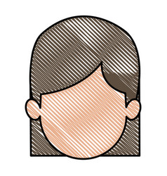 Drawing head girl faceless character image vector