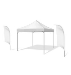 Empty white outdoor event tent with flying beach vector