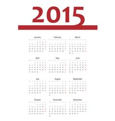 European 2015 year calendar vector image