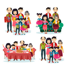 Family portrait with parents and children on sofa vector