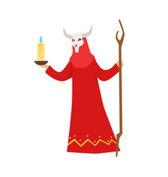 Female shaman in a red dress and horned mask vector