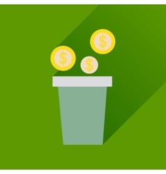 Flat icon with long shadow pot of coins vector