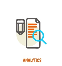 Flat line icons of analytics concept vector image