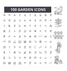 garden editable line icons 100 set vector image
