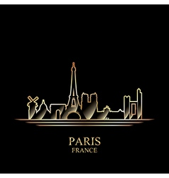 Gold silhouette of Paris on black background vector