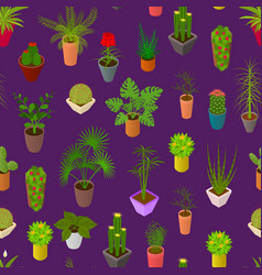 green plants in pot seamless pattern background 3d vector image