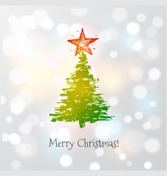 greeting card with christmas tree and big star vector image