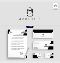 Guitar music logo template vector
