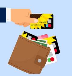 hand taking credit card from wallet vector image