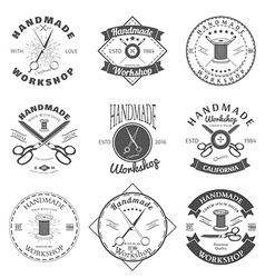 Handmade workshop logo vintage set Hipster and vector