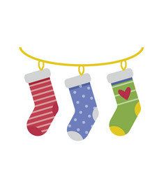 hanging christmas socks gift bags in flat vector image