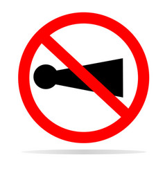 horn prohibited with shadow on white background vector image