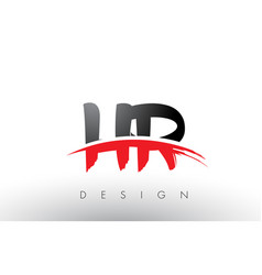 Hr h r brush logo letters with red and black vector