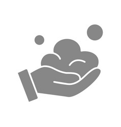 Human hand with soap lather grey icon hand vector