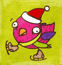 Ice Skating Bird Cartoon vector