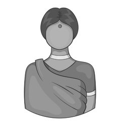 Indian female icon black monochrome style vector image
