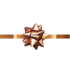 isolated gift bow present ribbon gold holiday vector image