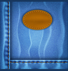 Jeans background with a leather label vector image