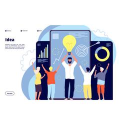 light bulb idea concept business team with leader vector image