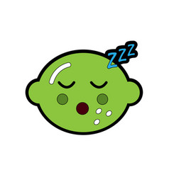 Lime or lemon sleeping fruit kawaii icon image vector