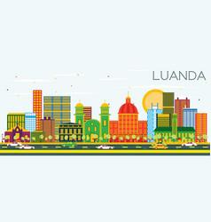 Luanda angola skyline with color buildings vector