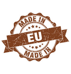 Made in eu round seal vector