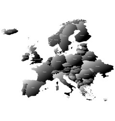 Map europe with countries names - 3d effect vector