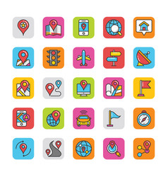 Maps and navigation flat icons vector