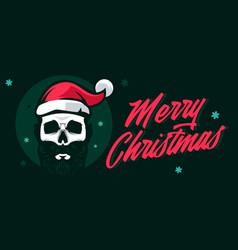 merry christmas skull wear a santa hat vector image