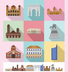 Milan italy city skyline icons set flat style vector
