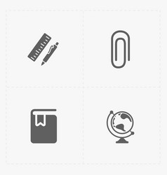 Modern flat education icons set on white vector
