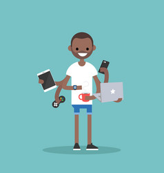 multitasking millennial concept young black man vector image