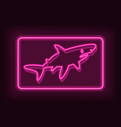 neon rectangle frame with fish shark glowing vector image