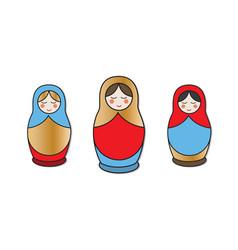 nesting doll matrioshka icons traditional folk vector image