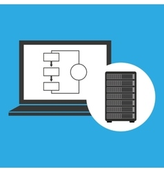 network server concept laptop data vector image