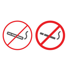 no smoking line and glyph icon prohibited and vector image
