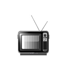 old black and white tv on a white isolated vector image