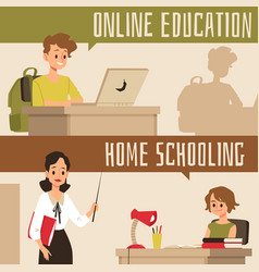 Online education and home schooling banner set vector
