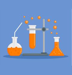 orange chemical flask concept background flat vector image