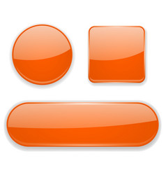 Orange glass buttons 3d icons vector