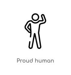 Outline proud human icon isolated black simple vector