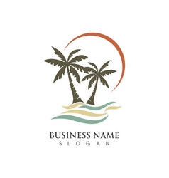 Palm tree summer logo vector