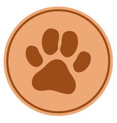 Paw footprint bronze coin vector