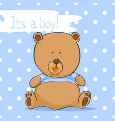 Postcard with a bear cub for a boy vector